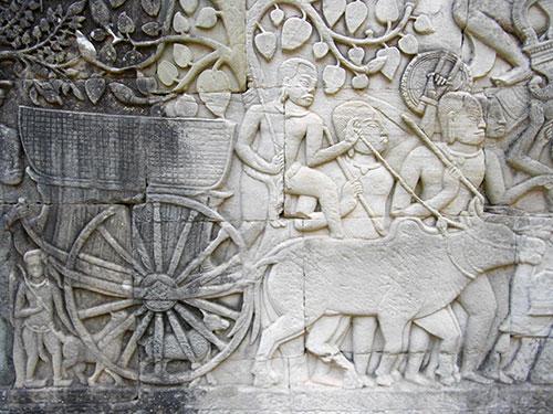カンボジアのバイヨン寺院の彫刻